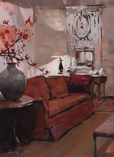 "David Lloyd - ""Living Room with Cherry Blossoms"""