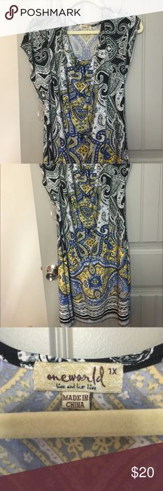 Beautiful multi color dress size 1X Beautiful multi color dress size 1X worn once ONE WORLD Dresses
