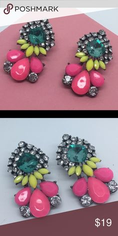 Pink Yellow Blue Sparkle Vintage Looking Earrings Brand new and unworn!  Pierced ears. We ship same day or next. Please use bundle button if you would like a discount! Jewelry Earrings