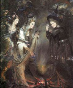 Daniel Gardner, Elizabeth Lamb, Viscountess Melbourne, Georgiana Duchess of Devonshire and Anne Seymour Damer as the Three Witches from Macbeth, 1775 Witch Painting, Witch Art, Beltane, Macbeth Witches, Shakespeare Characters, Three Witches, Witchcraft For Beginners, Wicca Witchcraft, Pagan Witch