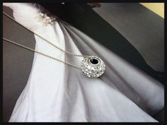 Silver necklace with Swarovski becharmed bead bride by Bleuberie, $34.00