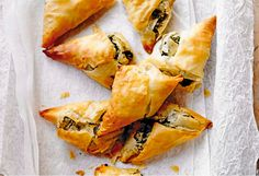 Spinach, feta & onion parcels I love nothing more than flaky and crispy pastry with delicious soft salty cheese on the inside.