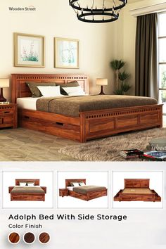 Storage beds used to be a bit of an eyesore, but nowadays there are a lot of beautiful solutions on the market. This Adolph bed with side storage is a beautifully detailed contemporary furniture design.  #woodenstreet #furniture #furniturestore #furniturebondedwithlove #bedroom #bed #bedswithstorage #storagebed #furnitureonline #bedgoals Bedroom Closet Design, Bedroom Furniture Design, Bedroom Bed, Home Decor Furniture, Wooden Furniture, Dining Furniture, Bedroom Ideas, Bedrooms, Indian Room Decor