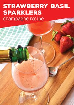 Homemade simple syrup takes centerstage in this cocktail recipe for Strawberry Basil Sparklers. Along with your favorite sparkling wine from BevMo! this is the perfect champagne beverage for your brunch or bachelorette party.