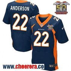 Men's Denver Broncos #22 C.J. Anderson Navy Blue 2016 Super Bowl 50th Championship Patch Stitched NFL Nike Elite Jersey