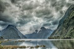 Milford Sound in New Zealand by taikuku New Zealand South Island, Milford Sound, Rain Clouds, Green Earth, Scenery, Star Wars, Mountains, Travel, Outdoor