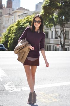 I can assure you I do not look as chic as Ahn on the weekends. Loving the brown, maroon, tan color combo.