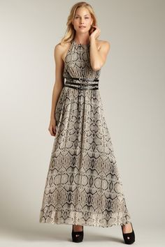 It's all about the belt. Too bad they went with the snake skin... Halter Belted Maxi Dress by Jessica Simpson $148