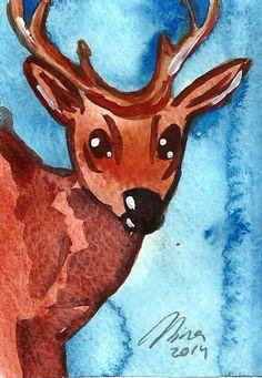 Little Deer Original ACEO Animal Art - Watercolor Painting - Deer Illustration - Animal & Wildlife Art by Niina Niskanen Watercolor Paper, Watercolor Paintings, Original Artwork, Original Paintings, Deer Illustration, Artist Card, Brown Art, Blue Art, Wildlife Art
