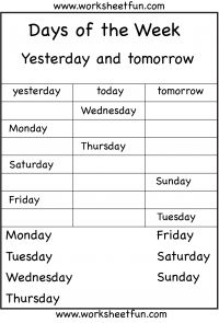 Days of the Week – Yesterday and Tomorrow – 6 Worksheets / FREE Printable Worksheets – Worksheetfun Worksheets For Class 1, Homeschool Worksheets, First Grade Worksheets, English Worksheets For Kids, English Activities, Kindergarten Worksheets, Printable Worksheets, Free Printable, Esl Lessons