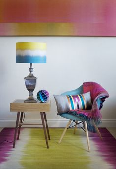 Ikat Lampshade -Teal Gold Drum - Designed by Ptolemy Mann