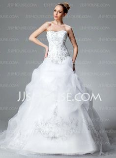 Wedding Dresses - $252.99 - Ball-Gown Sweetheart Chapel Train Organza Satin Wedding Dress With Embroidery Ruffle Beadwork Sequins (002004178) http://jjshouse.com/Ball-Gown-Sweetheart-Chapel-Train-Organza-Satin-Wedding-Dress-With-Embroidery-Ruffle-Beadwork-Sequins-002004178-g4178