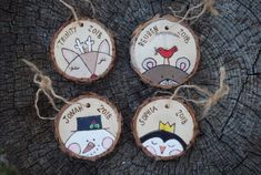 Custom Christmas Ornament - Reindeer Bear with bird Snowman Penguin - Unique Personalized Handmade Gift - Colorado Pine Wood Slice - 2019 Custom Christmas Ornaments, Wood Ornaments, Christmas Crafts, Homemade Ornaments, Christmas Items, Babys 1st Christmas, Merry Christmas And Happy New Year, Happy Holidays, Wood Slice Crafts