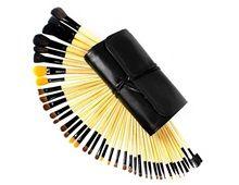 Profesjonell Kosmetisk Makeup Brush Set med bleket tre håndtak Førti Piece (svart)