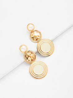 Round Drop Earrings With Jewelry -SheIn(Sheinside)