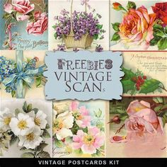 new freebies vintage kit 12 old postcards click here or here to ...