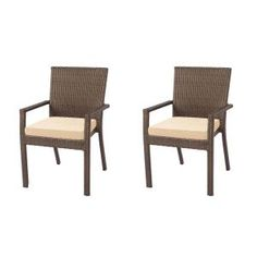 Hampton Bay Beverly Patio Dining Arm Chair with Beverly Beige Cushion (2-Pack)-65-23311AB - The Home Depot
