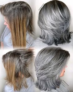 Instead Of Covering Grey Roots, This Hairdresser Makes Clients Embrace It With His Powerful Transformations (35 Pics) Medium Hair Styles, Natural Hair Styles, Short Hair Styles, Grey Hair Styles, Grey Hair Transformation, Gray Hair Highlights, Brown Blonde Hair, Grey Hair Lob, Dying Hair Grey
