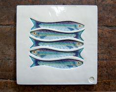 Five Sardines Fish Art Tile Handmade Ceramic by PatWarwickTiles, $75.00