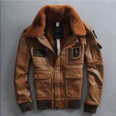 Genuine leather aviator jacket
