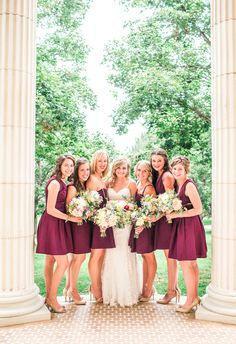Short maroon bridesmaid dresses, nude heels // Erin L. Taylor Photography