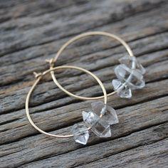 Herkimer Diamond Hoop Earrings / 14K Gold Filled Natural by byjodi
