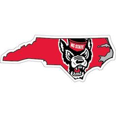 NC State Wolfpack State Outline Wolfhead Decal, $4.99