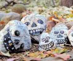 Grinning Skull Rocks... Incredibly cheap to have a bunch of these in your yard, good idea