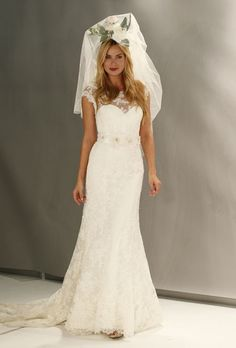 Watters Brides - Fall 2012 - Diana Lace A-Line Wedding Dress with Illusion Bateau Neckline and Cap Sleeves $374.99 Watters