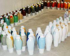 Production of Coloured Vases (series 3) by Hella Jongerius at Royal Tichelaar Makkum, 2010.