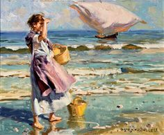 "Juan González Alacreu ""Junto al mar"" Spanish Painters, Spanish Artists, Ocean Artwork, Visual Texture, Cow Art, Character Modeling, Beach Scenes, Beautiful Paintings, Strand"