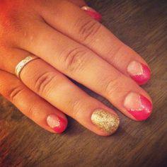 Gel Manicure: OPI Axxium Pompeii Purple & Gold Glitter with #IBD Builder Gel. Nail art.