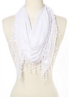 Cindy & Wendy Lightweight Triangle Floral #Fashion Lace Fringe Scarf Wrap for Women (SSLS-White) #Scarves #Wraps #Lacing