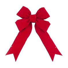 24 Christmas Velvet Decorative Bow Red