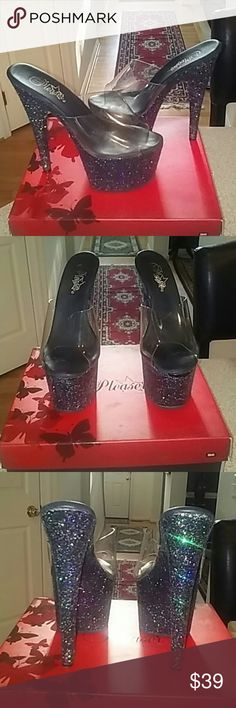 """6.75"""" Pleaser Platform sparkle heels 6.75"""" Pleaser Platform sparkle heels with a 2.75"""" platform gently warn in good condition and have allot of life left in them. Perfect for pole dancing or for a night out on the town. Pleaser Shoes Platforms"""