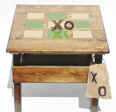 Kids Tic Tac Toe Outdoor Wooden Game and Activity Table, Childrens' Heirloom Furniture, Indoor/Outdoor