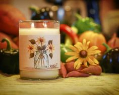 Large Ball Jar And Sunflowers Candle Wrap #26 www.thisilldocreations.com