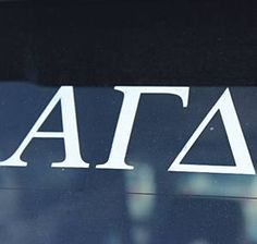 Alpha Gamma Delta (AGD) Sorority Car Decal White Letters   3.75. Great Greek 31d33f60b8