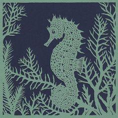 Seahorse papercut. 'Spiny Seahorse'. Print from an original handmade papercut.