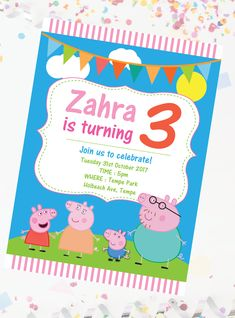 Peppa Pig Birthday Invitations, Rsvp, Colours, Prints, Party, Fiesta Party, Parties, Printmaking