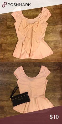 Light Pink Peplum Top w/ Sheer Bow Light Pink Peplum Top w/ Sheer Bow on the Back!! Charlotte Russe Tops