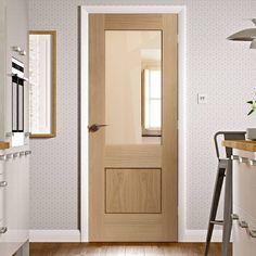 Piacenza Oak 1 Panel Flush Door with Groove Design and Clear Safe Glass.    #glazeddoor #interiordoor #oakdoor #interiordesign #doordesign #door #doors