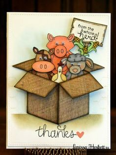 From the Whole Herd Card by Larissa Heskett | Farmyard Friends stamp set by Newton's Nook Designs