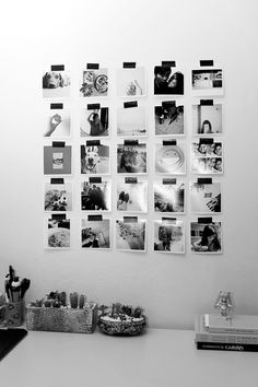 Tips for photo collages on the canvas Do you have a white wall at home, which has always annoyed you Photo Polaroid, Polaroid Wall, Bedroom Wall, Bedroom Decor, Bed Room, Diy Wanddekorationen, Girl Bedroom Designs, Aesthetic Room Decor, Home Room Design