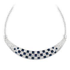 Sötétkék-ezüstszín négyzetek kristály nyaklánc I Swarovski Elements I FeminaShop.hu