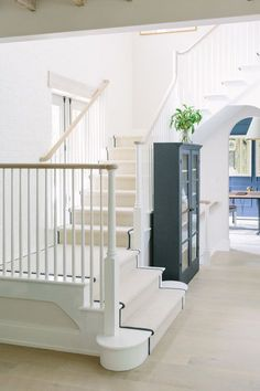 Magnificent staircase and archways in a beautiful modern farmhouse with interior design by Kate Marker in Barrington, IL. Come enjoy encouraging love quotes and timeless decor inspiration! Foyer Decorating, Interior Decorating, Interior Design, Decorating Ideas, Decor Ideas, Custom Home Builders, Custom Homes, Entry Stairs, Build Your Own House