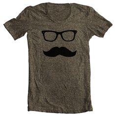 CIJ Mustache Wayfarer (9 COLORS) T shirt Tee - Men's Women's American Apparel Tri Blend Tshirt   Tri Coffee  Sizes xs, s, m, l, xl (cts)(ns)