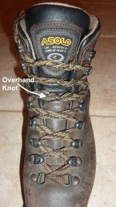 """How to prevent """"exploding toes"""" (toenail loss) on long descents. Overhand knot lacing technique and other tips."""