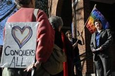 """Six same-sex couples seeking to wed were turned away Thursday afternoon at the Charlottesville Circuit Court clerk's office.    """"We're here to fix a problem today,"""" said Charlottesville lawyer Andre A. Hakes, who organized the protest. """"Black, white, yellow or green. Everyone can get married, except for gay people."""""""