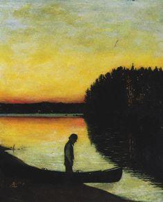 Finnish Elegy - Hugo Simberg , 1895 Finnish, Tempera on canvas Nocturne, Amsterdam, Nordic Art, Scandinavian Art, Canoe Boat, Painter Artist, Yellow Art, Light Painting, Western Art